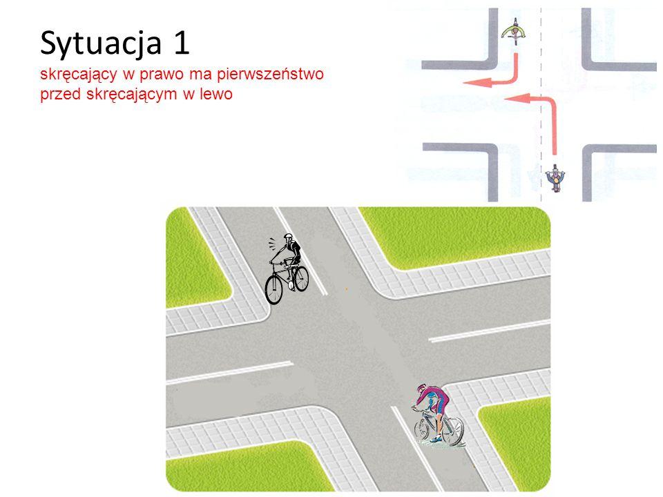 Sytuacja 1 skręcający w prawo ma pierwszeństwo przed skręcającym w lewo