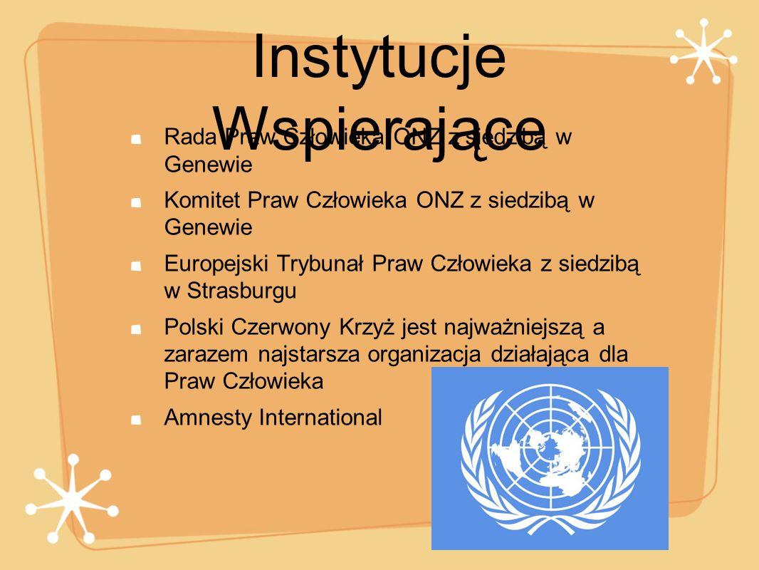 Instytucje Wspierające Rada Praw Człowieka ONZ z siedzibą w Genewie Komitet Praw Człowieka ONZ z siedzibą w Genewie Europejski Trybunał Praw Człowieka