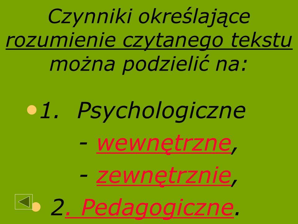 Czynniki określające rozumienie czytanego tekstu można podzielić na: 1. Psychologiczne - wewnętrznewewnętrzne, - zewnętrzniezewnętrznie, 2.. Pedagogic