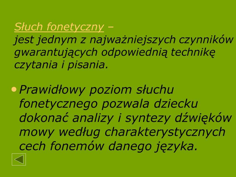 Słuch fonetyczny – jest jednym z najważniejszych czynników gwarantujących odpowiednią technikę czytania i pisania. Prawidłowy poziom słuchu fonetyczne
