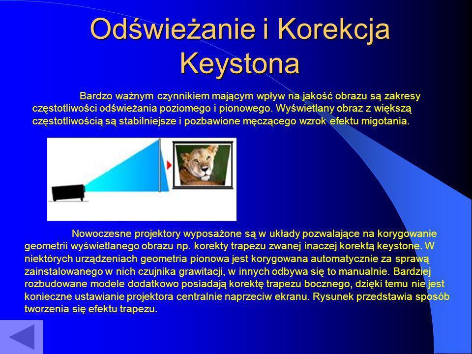 Odświeżanie i Korekcja Keystona Bardzo ważnym czynnikiem mającym wpływ na jakość obrazu są zakresy częstotliwości odświeżania poziomego i pionowego. W