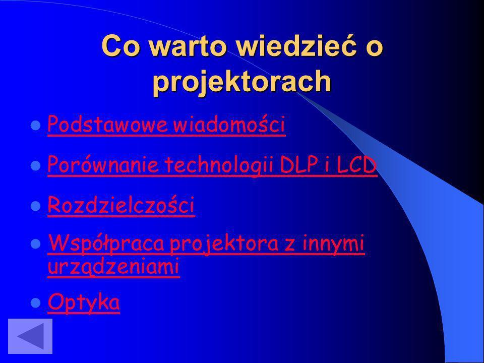 Co warto wiedzieć o projektorach Współpraca projektora z innymi urządzeniami Współpraca projektora z innymi urządzeniami Rozdzielczości Podstawowe wia