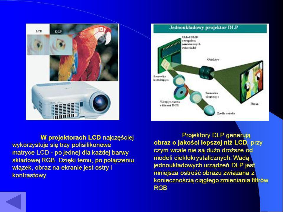 Rozdzielczości Rozdzielczość to ilość pikseli na obrazie, podawana jako iloczyn linii pionowych i poziomych:VGA (640x480), SVGA (800x600), XGA (1024x768), SXGA (1280x1024), UXGA (1600x1200) WXGA(1280x720).