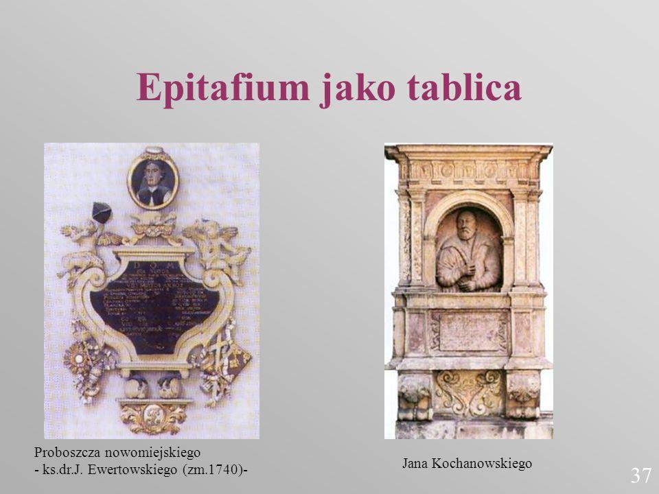 Epitafium jako tablica Proboszcza nowomiejskiego - ks.dr.J. Ewertowskiego (zm.1740)- Jana Kochanowskiego 37