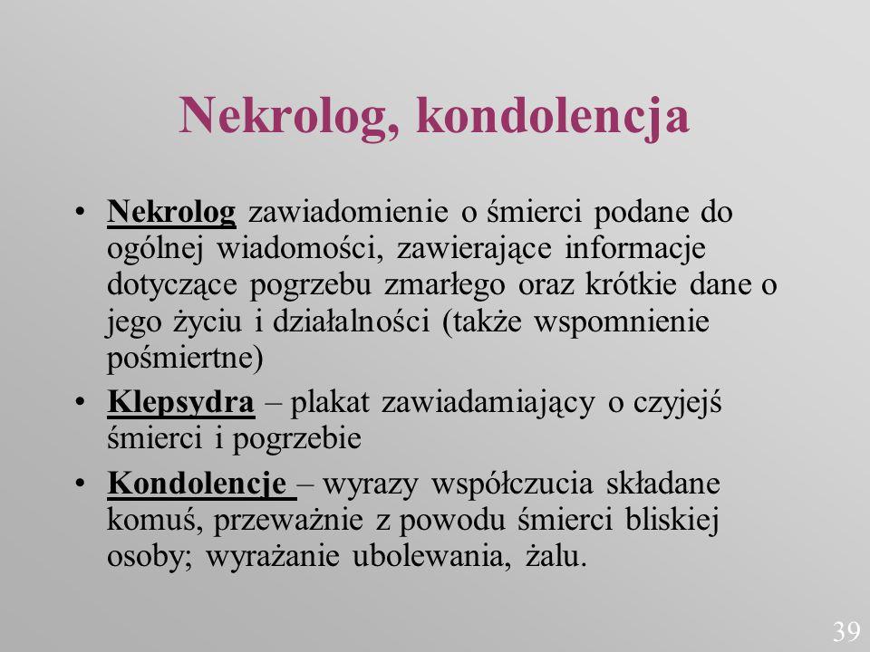 Nekrolog, kondolencja Nekrolog zawiadomienie o śmierci podane do ogólnej wiadomości, zawierające informacje dotyczące pogrzebu zmarłego oraz krótkie d