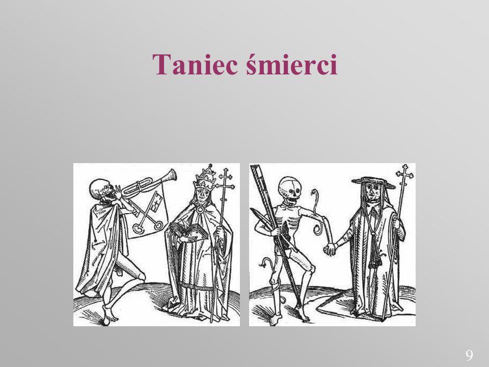 Taniec śmierci (danse macabre) Obrazowy taniec w plastyce średniowiecznej; korowód ludzi wszystkich stanów z kościotrupem na czele, wyrażający równość wszystkich ludzi w obliczu śmierci 10