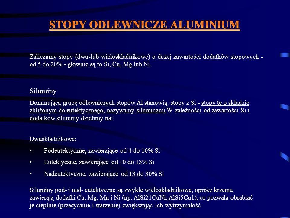 Wieloskładnikowe: Siluminy, przeważnie są wieloskładnikowe - tzn.oprócz Si- zawierają dodatki Cu, Mg,Mn(Ni); dodatki te umożliwiają znaczne polepszenie ich własności mechanicznych poprzez OC-utwardzanie wydzieleniowe.