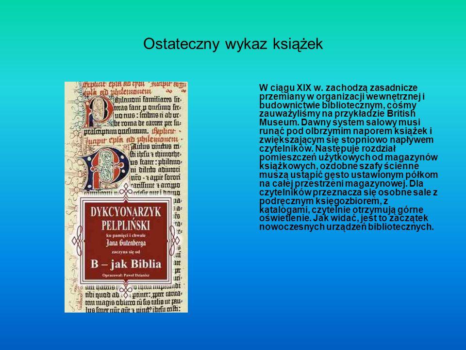 Ostateczny wykaz książek W ciągu XIX w.