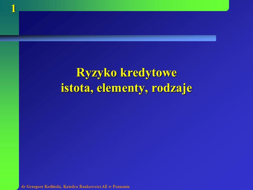 dr Grzegorz Kotliński, Katedra Bankowości AE w Poznaniu 1 Ryzyko kredytowe istota, elementy, rodzaje