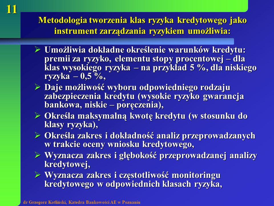 dr Grzegorz Kotliński, Katedra Bankowości AE w Poznaniu 11 Metodologia tworzenia klas ryzyka kredytowego jako instrument zarządzania ryzykiem umożliwi