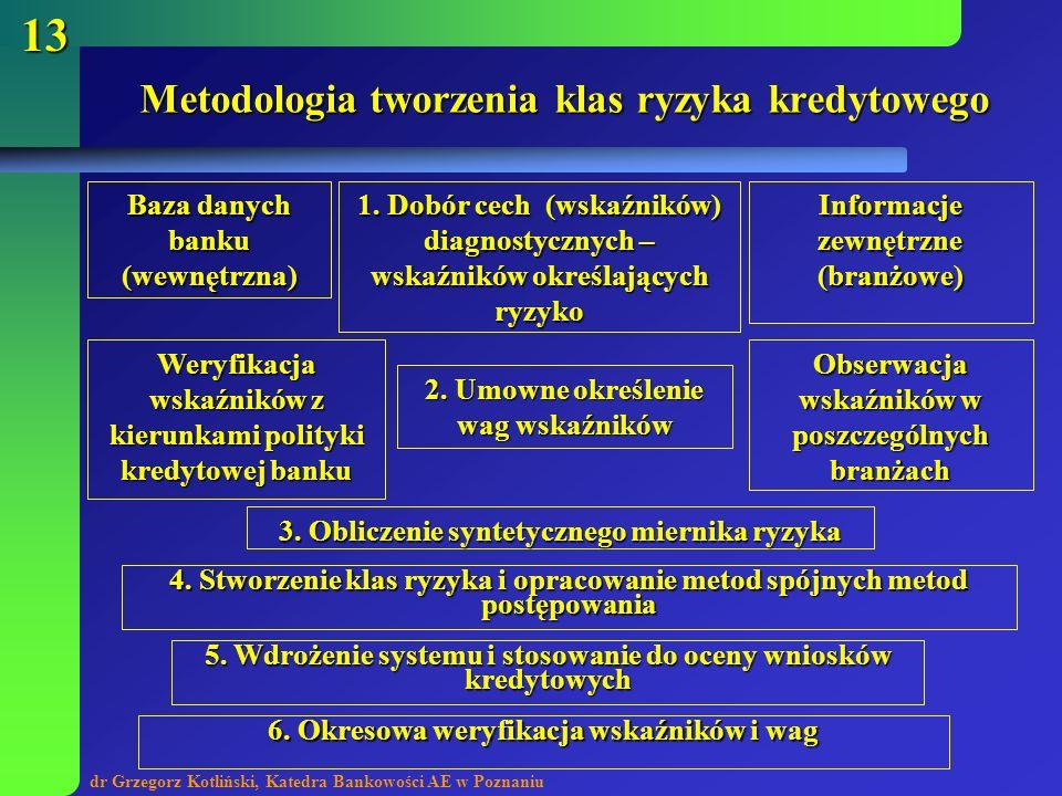 dr Grzegorz Kotliński, Katedra Bankowości AE w Poznaniu 13 Metodologia tworzenia klas ryzyka kredytowego Baza danych banku (wewnętrzna) Informacje zew