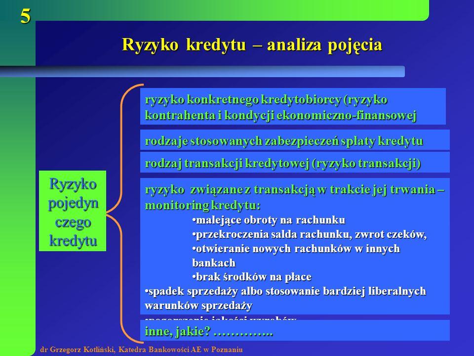 dr Grzegorz Kotliński, Katedra Bankowości AE w Poznaniu 16 Analiza przedsięwzięć przewidzianych do kredytowania celem jest określenie ryzyka związanego z realizacją przedsięwzięcia finansowanego kredytem celem jest określenie ryzyka związanego z realizacją przedsięwzięcia finansowanego kredytem ocenie podlega cała działalności podmiotu zaciągającego kredyt oraz szczegóły przedsięwzięcia zgłaszanego do kredytowania ocenie podlega cała działalności podmiotu zaciągającego kredyt oraz szczegóły przedsięwzięcia zgłaszanego do kredytowania aby określić i zbadać ryzyko związane z realizacją konkretnego projektu gospodarczego należy zanalizować przedkładany wraz z wnioskiem biznes plan – nie jest to jednak tylko formalność lecz bardzo istotny element procesu oceny ryzyka kredytowego aby określić i zbadać ryzyko związane z realizacją konkretnego projektu gospodarczego należy zanalizować przedkładany wraz z wnioskiem biznes plan – nie jest to jednak tylko formalność lecz bardzo istotny element procesu oceny ryzyka kredytowego najistotniejszy element to wykonalność techniczna projektu oraz eliminacja tzw.