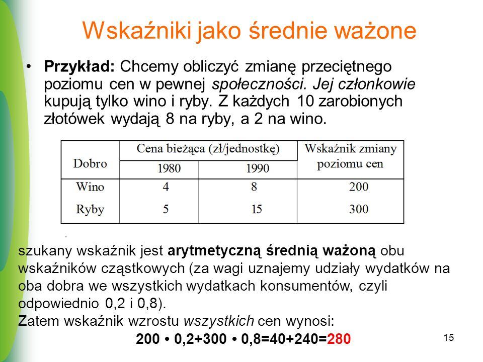 15 Wskaźniki jako średnie ważone Przykład: Chcemy obliczyć zmianę przeciętnego poziomu cen w pewnej społeczności. Jej członkowie kupują tylko wino i r