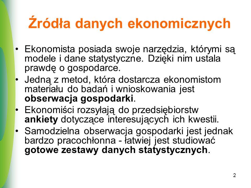 2 Źródła danych ekonomicznych Ekonomista posiada swoje narzędzia, którymi są modele i dane statystyczne. Dzięki nim ustala prawdę o gospodarce. Jedną