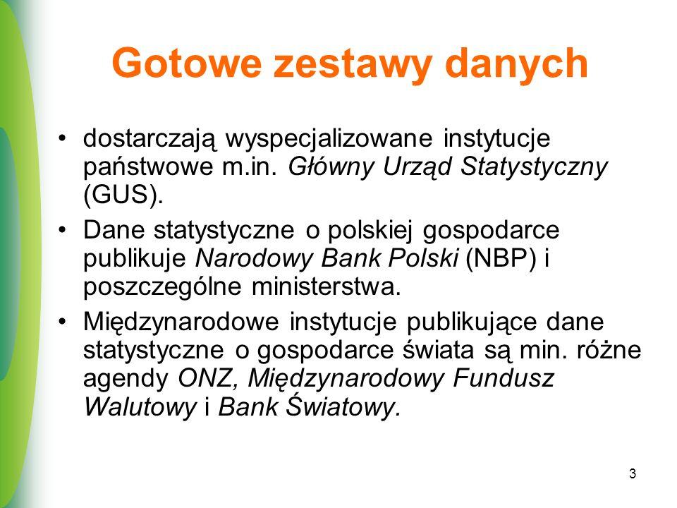 3 Gotowe zestawy danych dostarczają wyspecjalizowane instytucje państwowe m.in. Główny Urząd Statystyczny (GUS). Dane statystyczne o polskiej gospodar