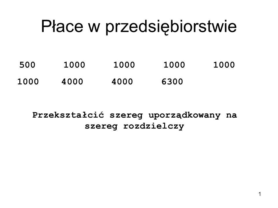 2 XiXi nini 5001 10005 40002 63001 suma9 x i – wartość cechy n i – liczebność cechy
