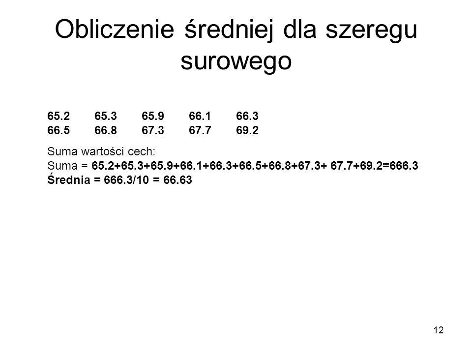 12 Obliczenie średniej dla szeregu surowego 65.265.365.966.166.3 66.566.867.367.769.2 Suma wartości cech: Suma = 65.2+65.3+65.9+66.1+66.3+66.5+66.8+67