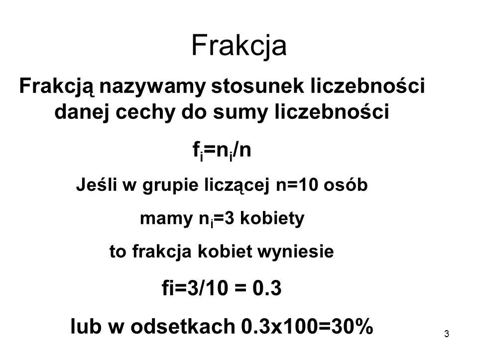 3 Frakcja Frakcją nazywamy stosunek liczebności danej cechy do sumy liczebności f i =n i /n Jeśli w grupie liczącej n=10 osób mamy n i =3 kobiety to f