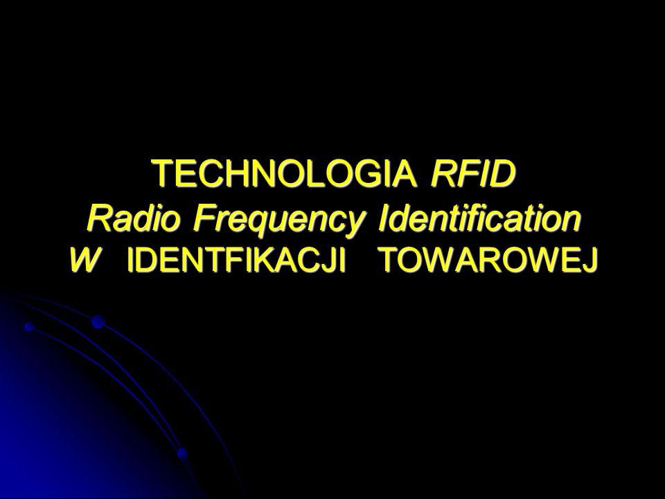 RFID – Alternatywa identyfikacji kodami kreskowymi : Właściwości : Zdalny bezkontaktowy odczyt danych zapisanych na znacznikach – tag -ach (metkach – transponderach), z wykorzystujących fale radiowe do wymiany danych pomiędzy znacznikami a czytnikiem, Zdalny bezkontaktowy odczyt danych zapisanych na znacznikach – tag -ach (metkach – transponderach), z wykorzystujących fale radiowe do wymiany danych pomiędzy znacznikami a czytnikiem,, brak konieczności bezpośredniego kontaktu znacznika i czytnika – dekodera, Możliwość wykorzystywania niewielkich rozmiarów znaczników np.