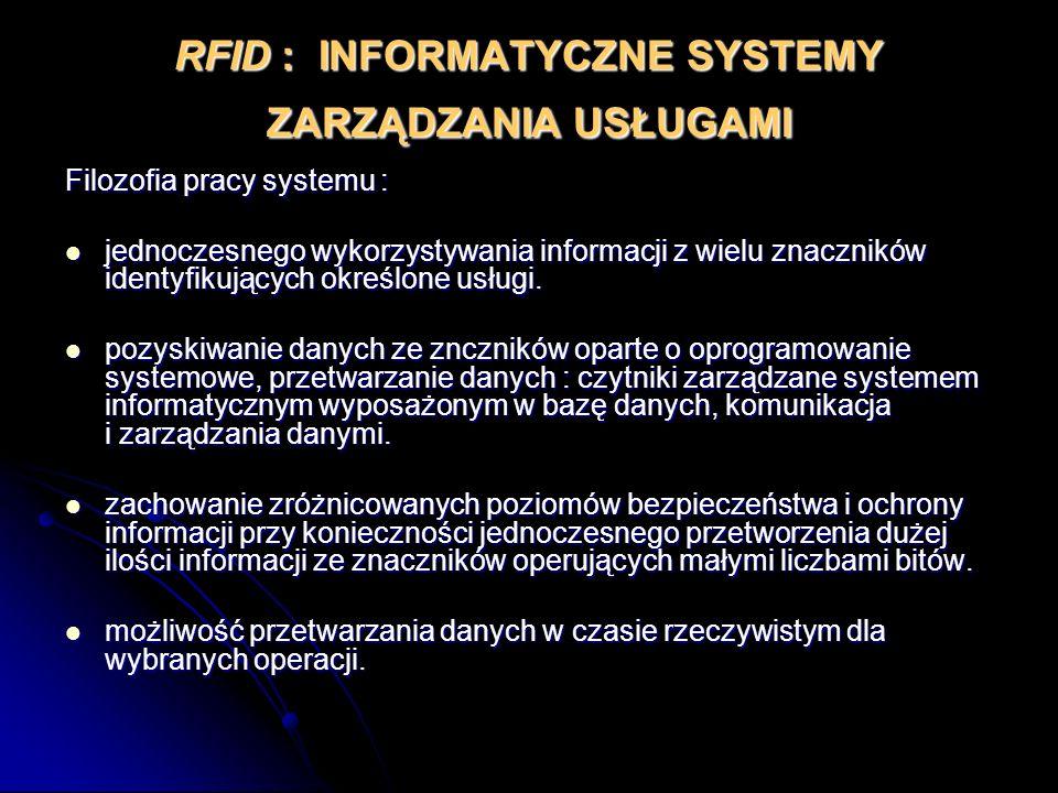 RFID : INFORMATYCZNE SYSTEMY ZARZĄDZANIA USŁUGAMI Filozofia pracy systemu : jednoczesnego wykorzystywania informacji z wielu znaczników identyfikujący