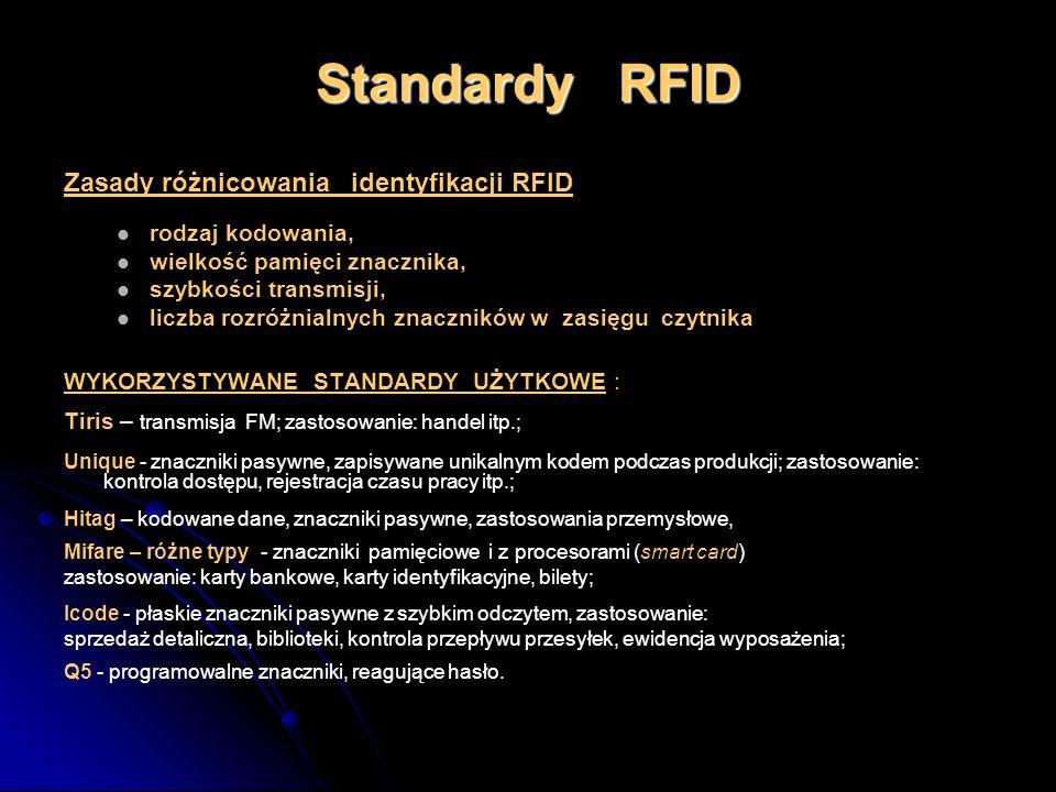 Standardy RFID Zasady różnicowania identyfikacji RFID rodzaj kodowania, wielkość pamięci znacznika, szybkości transmisji, liczba rozróżnialnych znaczn