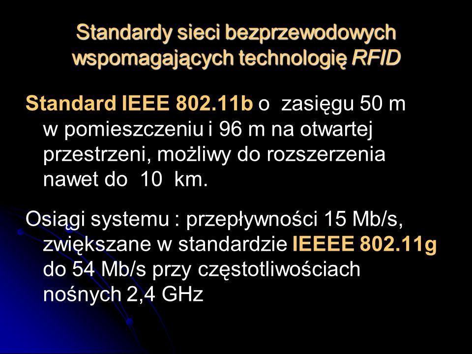Standardy sieci bezprzewodowych wspomagających technologię RFID Standard IEEE 802.11b o zasięgu 50 m w pomieszczeniu i 96 m na otwartej przestrzeni, m