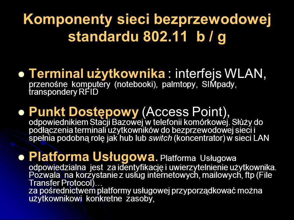 Komponenty sieci bezprzewodowej standardu 802.11 b / g Terminal użytkownika : interfejs WLAN, przenośne komputery (notebooki), palmtopy, SIMpady, tran