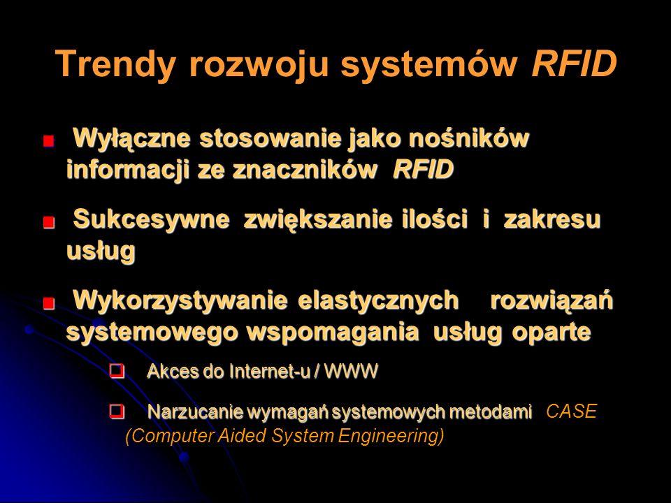 Trendy rozwoju systemów RFID Wyłączne stosowanie jako nośników informacji ze znaczników RFID Wyłączne stosowanie jako nośników informacji ze znacznikó