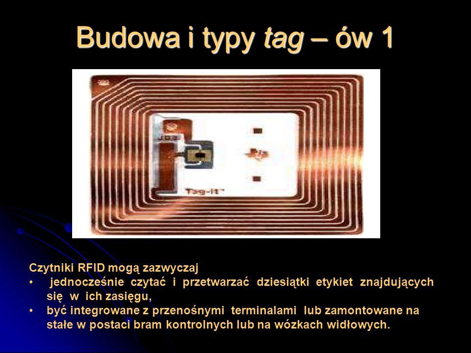 Budowa i typy tag – ów 1 Czytniki RFID mogą zazwyczaj jednocześnie czytać i przetwarzać dziesiątki etykiet znajdujących się w ich zasięgu, być integro