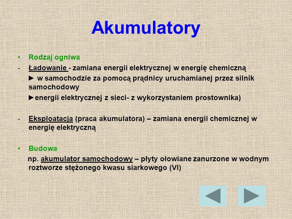 Akumulatory Rodzaj ogniwa -Ładowanie - zamiana energii elektrycznej w energię chemiczną w samochodzie za pomocą prądnicy uruchamianej przez silnik sam