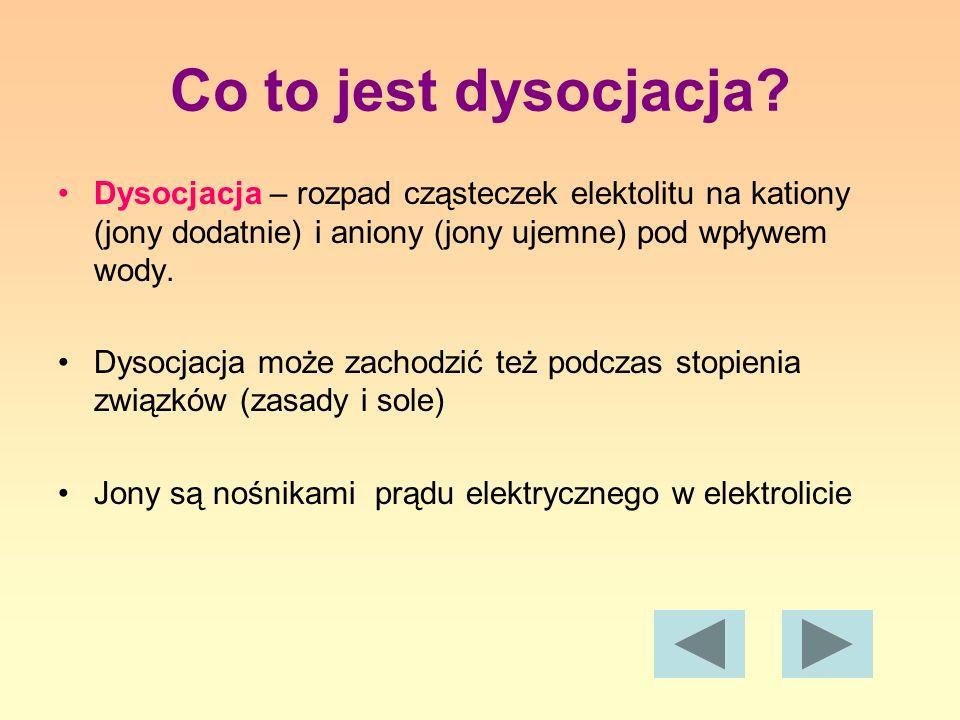 Co to jest dysocjacja? Dysocjacja – rozpad cząsteczek elektolitu na kationy (jony dodatnie) i aniony (jony ujemne) pod wpływem wody. Dysocjacja może z