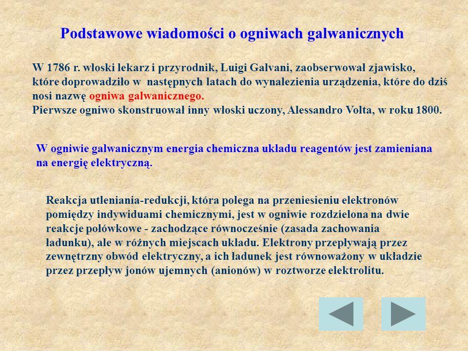 Podstawowe wiadomości o ogniwach galwanicznych W 1786 r. włoski lekarz i przyrodnik, Luigi Galvani, zaobserwował zjawisko, które doprowadziło w następ