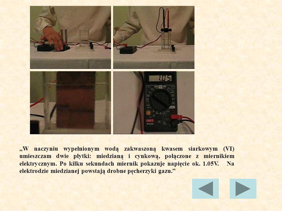 OGNIWO VOLTY Ogniwo Volty można przedstawić schematycznie jak na rysunku poniżej: Składa się ono z dwóch płytek, wykonanych z różnych metali, zanurzonych w roztworze elektrolitu.