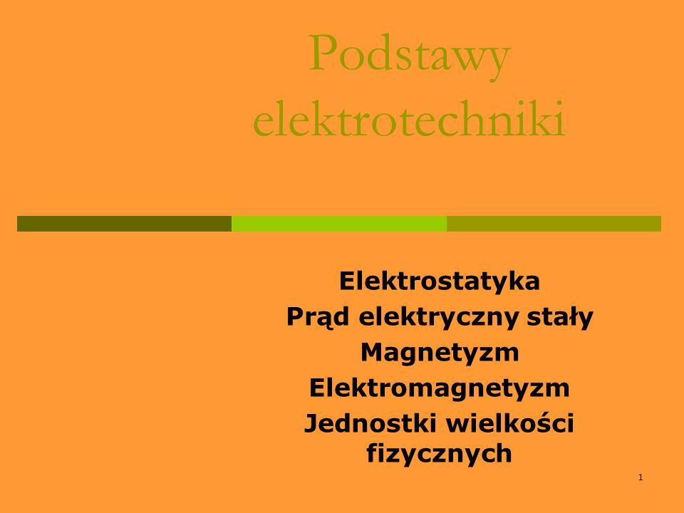 1 Podstawy elektrotechniki Elektrostatyka Prąd elektryczny stały Magnetyzm Elektromagnetyzm Jednostki wielkości fizycznych