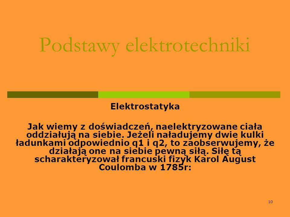 10 Podstawy elektrotechniki Elektrostatyka Jak wiemy z doświadczeń, naelektryzowane ciała oddziałują na siebie. Jeżeli naładujemy dwie kulki ładunkami