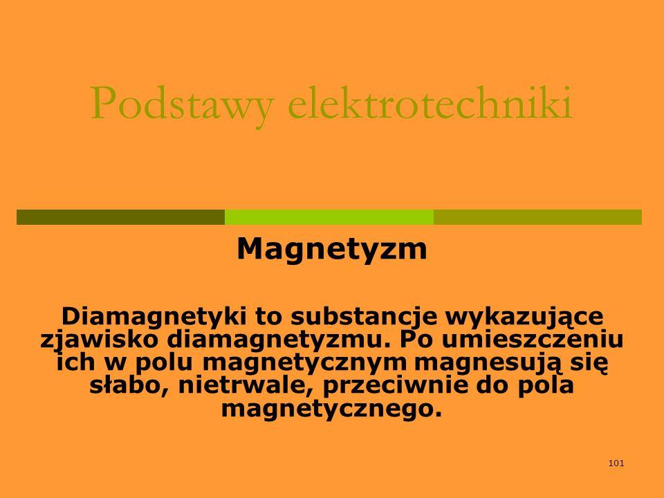 101 Podstawy elektrotechniki Magnetyzm Diamagnetyki to substancje wykazujące zjawisko diamagnetyzmu. Po umieszczeniu ich w polu magnetycznym magnesują
