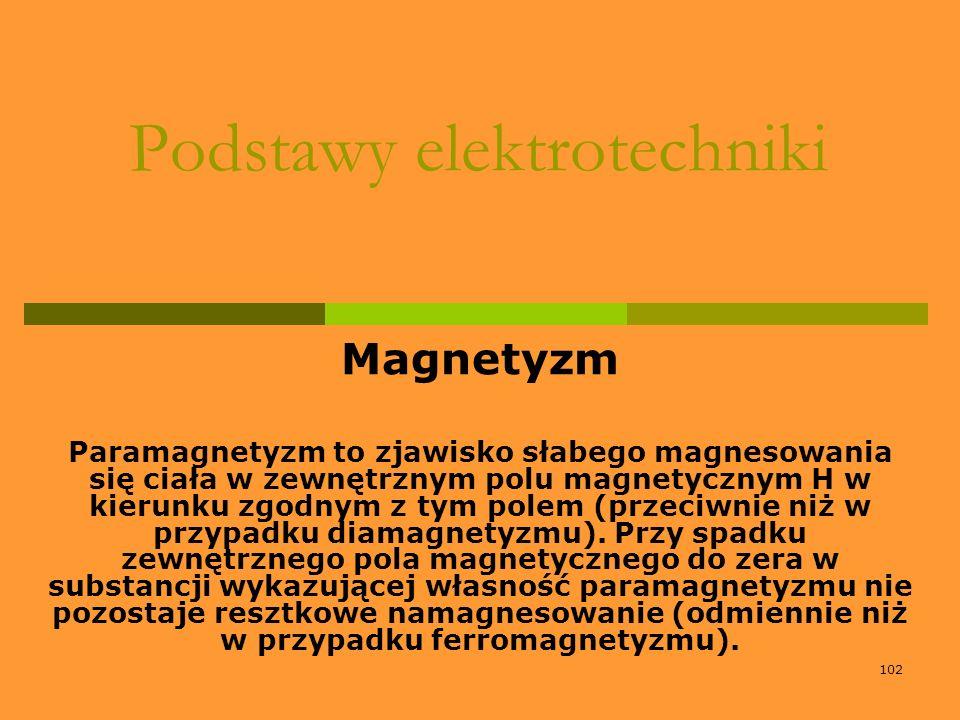 102 Podstawy elektrotechniki Magnetyzm Paramagnetyzm to zjawisko słabego magnesowania się ciała w zewnętrznym polu magnetycznym H w kierunku zgodnym z