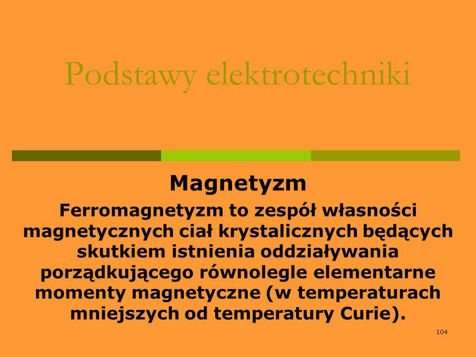 104 Podstawy elektrotechniki Magnetyzm Ferromagnetyzm to zespół własności magnetycznych ciał krystalicznych będących skutkiem istnienia oddziaływania
