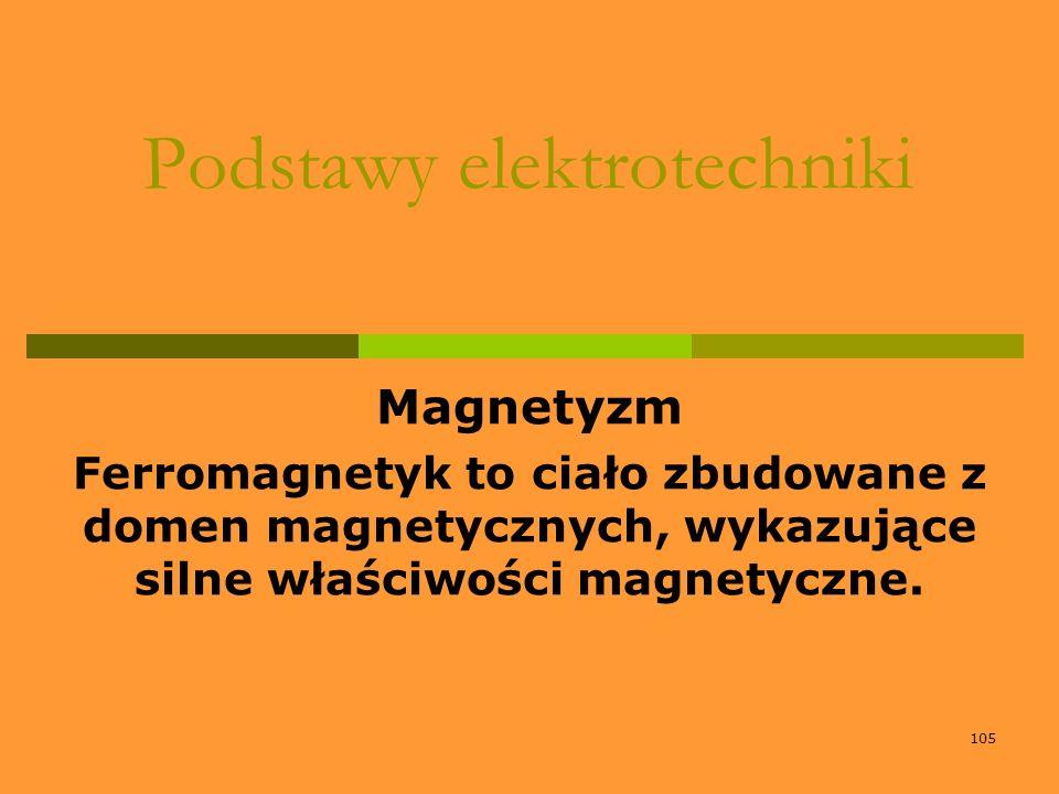105 Podstawy elektrotechniki Magnetyzm Ferromagnetyk to ciało zbudowane z domen magnetycznych, wykazujące silne właściwości magnetyczne.