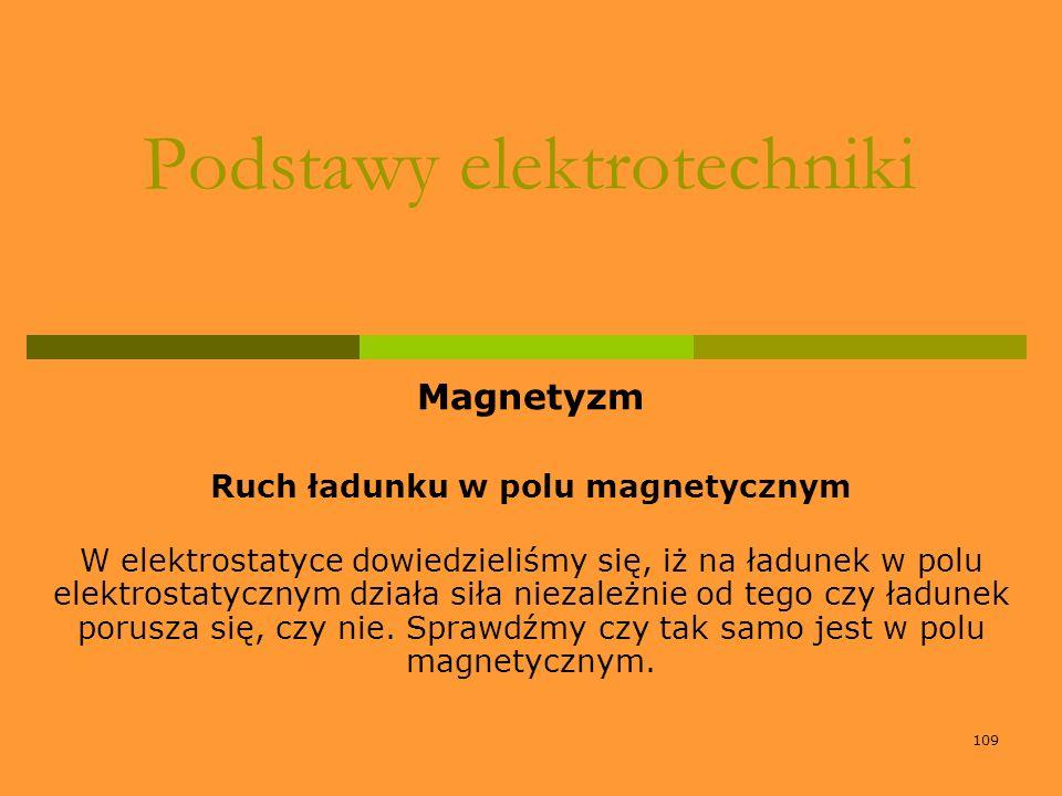 109 Podstawy elektrotechniki Magnetyzm Ruch ładunku w polu magnetycznym W elektrostatyce dowiedzieliśmy się, iż na ładunek w polu elektrostatycznym dz