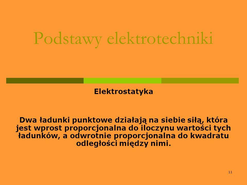 11 Podstawy elektrotechniki Elektrostatyka Dwa ładunki punktowe działają na siebie siłą, która jest wprost proporcjonalna do iloczynu wartości tych ła