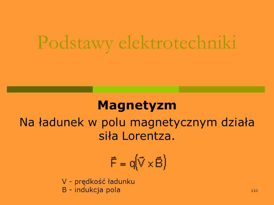 110 Podstawy elektrotechniki Magnetyzm Na ładunek w polu magnetycznym działa siła Lorentza. V - prędkość ładunku B - indukcja pola