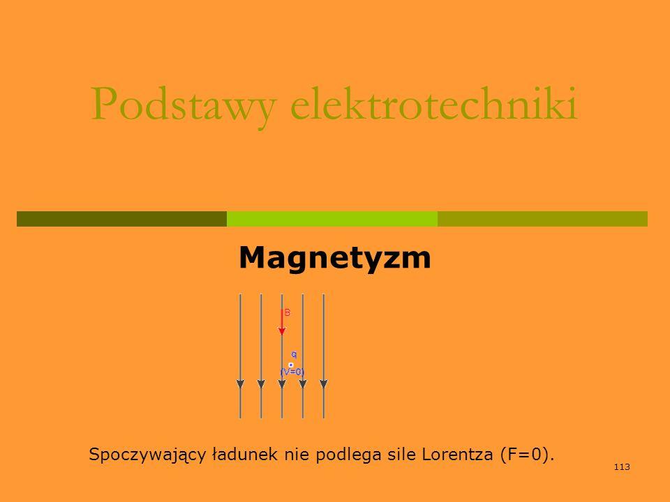 113 Podstawy elektrotechniki Magnetyzm Spoczywający ładunek nie podlega sile Lorentza (F=0).