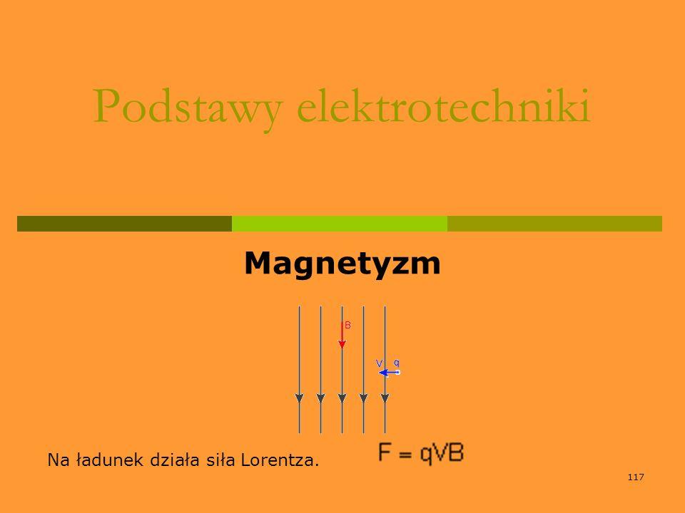 117 Podstawy elektrotechniki Magnetyzm Na ładunek działa siła Lorentza.