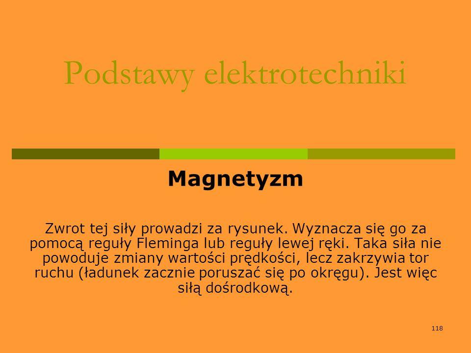 118 Podstawy elektrotechniki Magnetyzm Zwrot tej siły prowadzi za rysunek. Wyznacza się go za pomocą reguły Fleminga lub reguły lewej ręki. Taka siła