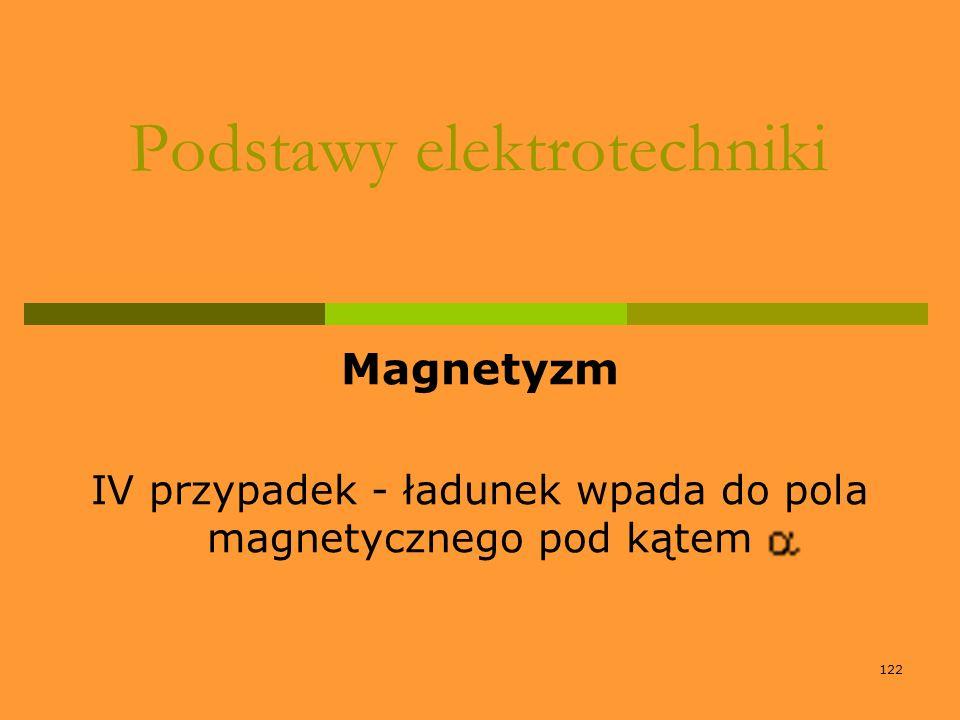 122 Podstawy elektrotechniki Magnetyzm IV przypadek - ładunek wpada do pola magnetycznego pod kątem