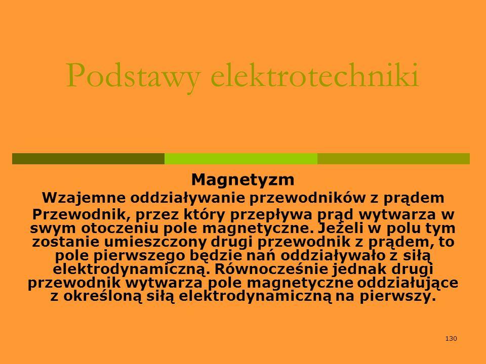 130 Podstawy elektrotechniki Magnetyzm Wzajemne oddziaływanie przewodników z prądem Przewodnik, przez który przepływa prąd wytwarza w swym otoczeniu p