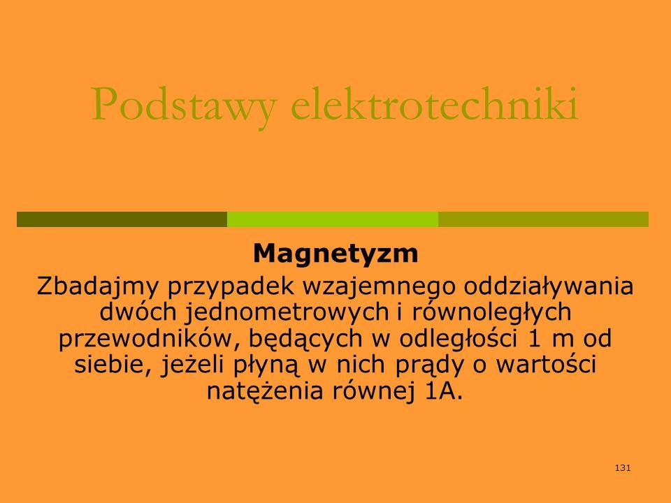 131 Podstawy elektrotechniki Magnetyzm Zbadajmy przypadek wzajemnego oddziaływania dwóch jednometrowych i równoległych przewodników, będących w odległ