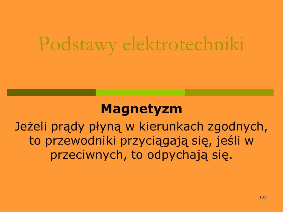 132 Podstawy elektrotechniki Magnetyzm Jeżeli prądy płyną w kierunkach zgodnych, to przewodniki przyciągają się, jeśli w przeciwnych, to odpychają się