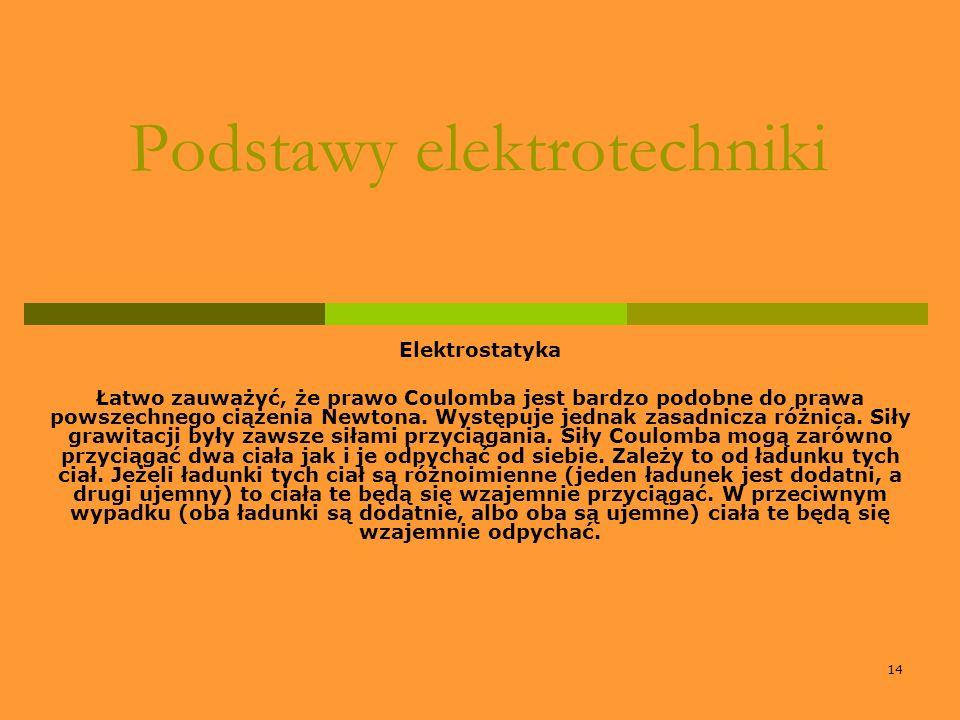 14 Podstawy elektrotechniki Elektrostatyka Łatwo zauważyć, że prawo Coulomba jest bardzo podobne do prawa powszechnego ciążenia Newtona. Występuje jed